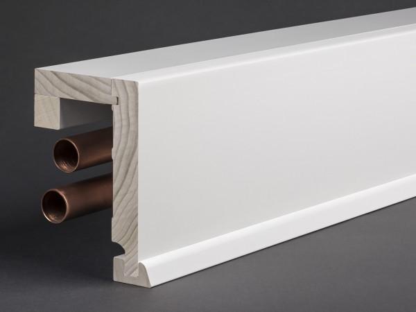 Massivholz weiß lackiert 85x85 mm Rohrabdeckleiste Oberkante gerade