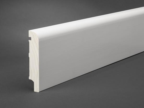 Massivholz weiß lackiert 100x20 mm Oberkante abgerundet