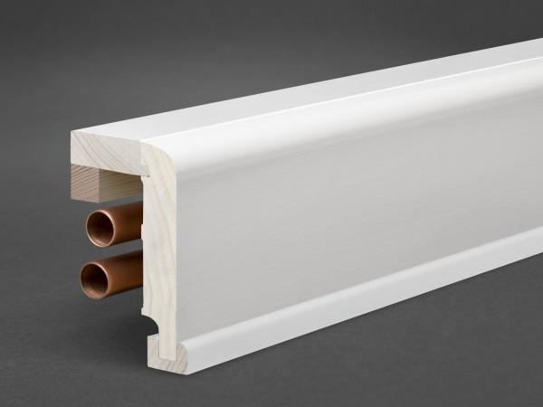 Massivholz weiß lackiert 85x65 mm Rohrabdeckleiste Oberkante abgerundet