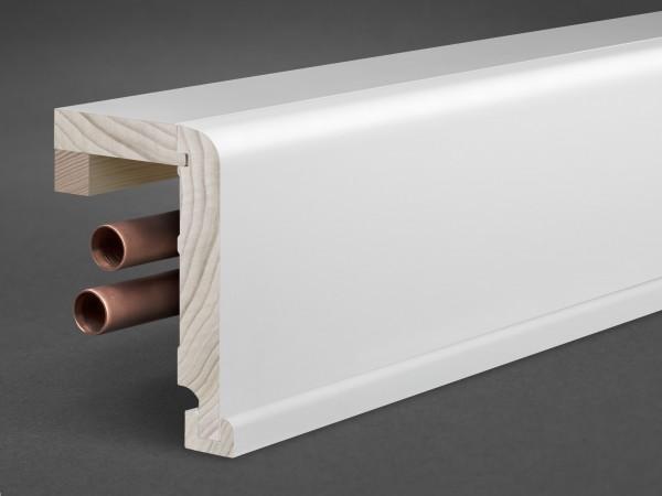 Massivholz weiß lackiert 125x85 mm Rohrabdeckleiste Oberkante abgerundet