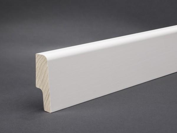 Massivholz weiß lackiert 60x20 mm Oberkante abgerundet/konisch