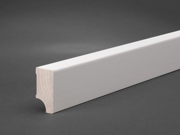 Massivholz weiß lackiert 40x20 mm Oberkante gerade