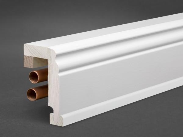 Massivholz weiß lackiert 105x65 mm Rohrabdeckleiste Berliner-/Hamburger Profil