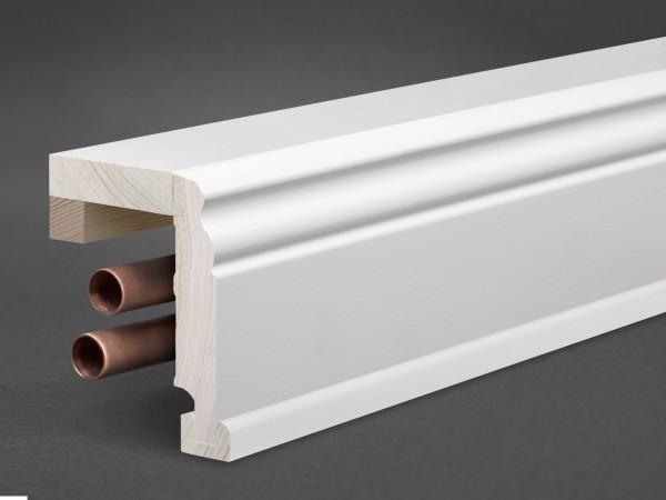Massivholz weiß lackiert 85x85 mm Rohrabdeckleiste Berliner-/Hamburger Profil
