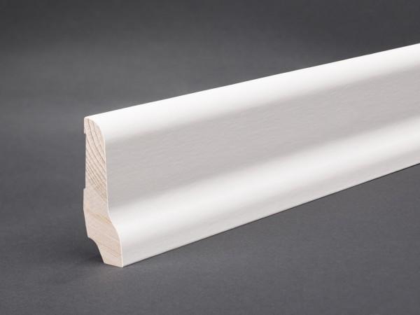 Weiß lackiert (Furnier) 60x22x2400 mm lackiert Oberkante profiliert