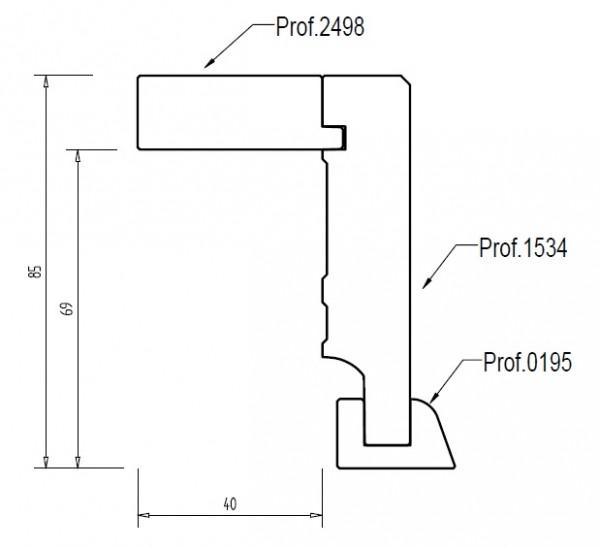 Eiche 85x68 mm Rohrabdeckleiste Oberkante gerade, mit 2x2 mm Fase