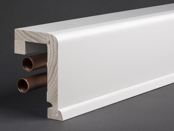 Massivholz weiß lackiert 85x89 mm Rohrabdeckleiste Oberkante abgerundet