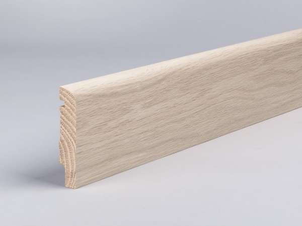 Eiche weiß (Optik) 80x16 mm Oberkante abgerundet