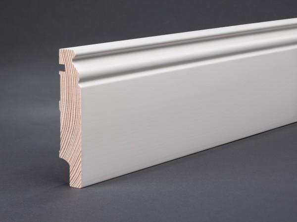 Massivholz weiß lackiert 98x19x2400 mm Berliner-/Hamburger Profil