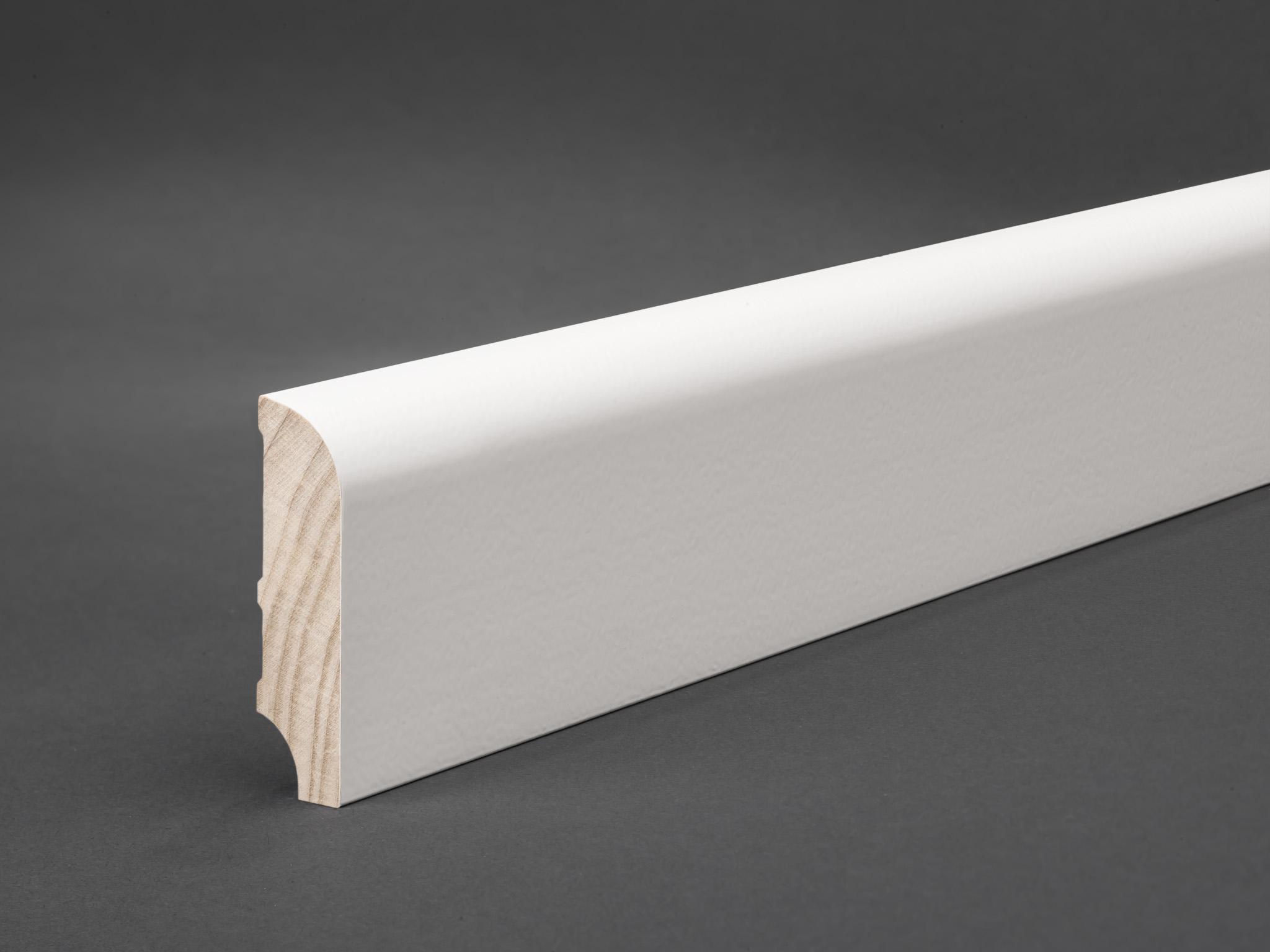 massivholz wei lackiert 60x16 mm oberkante abgerundet fu leisten welt. Black Bedroom Furniture Sets. Home Design Ideas