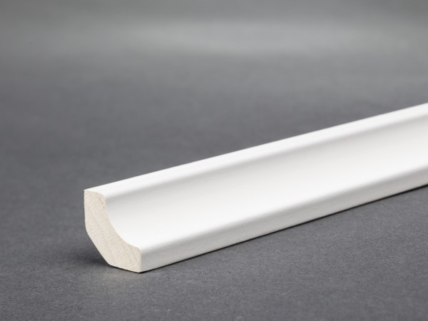 Massivholz weiß lackiert 14x14 mm Hohlkehlleiste