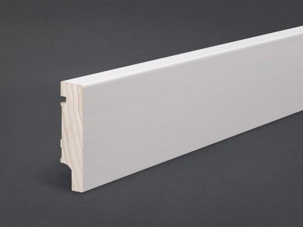Massivholz weiß lackiert 80x20 mm Oberkante gerade