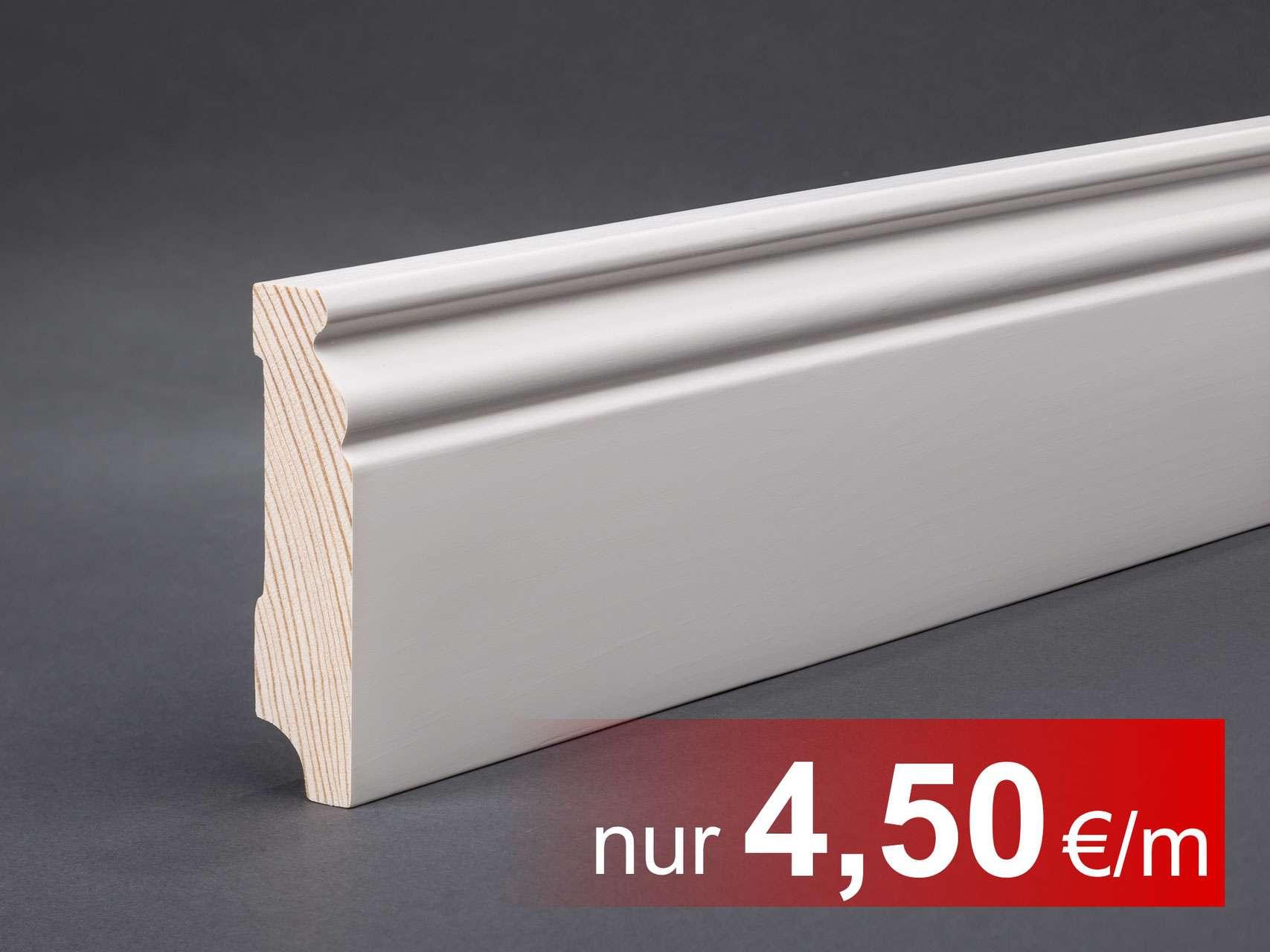 massivholz weiß lackiert 80x19 mm berliner-/hamburger profil