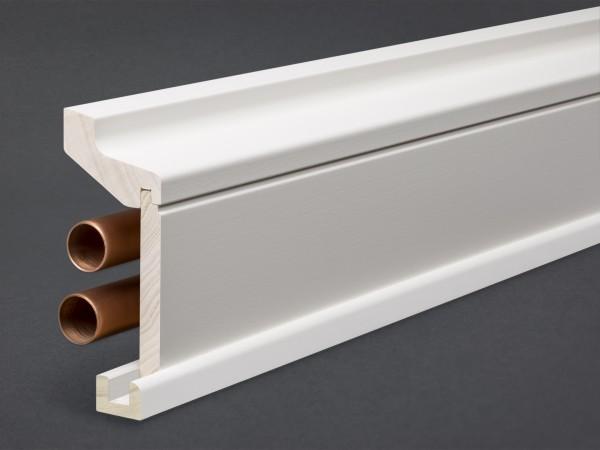 Massivholz/MDF weiß lackiert 115x59 mm Rohrabdeckleiste Oberkante profiliert