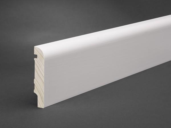 Massivholz weiß lackiert 80x16 mm Oberkante abgerundet