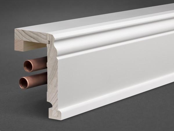 Massivholz weiß lackiert 125x65 mm Rohrabdeckleiste Berliner-/Hamburger Profil