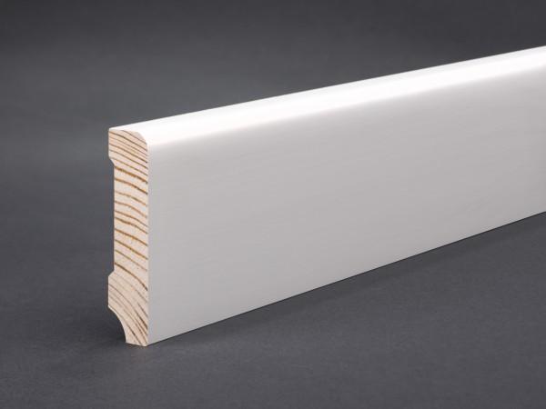 Massivholz weiß lackiert 60x13x2400 mm Oberkante abgerundet