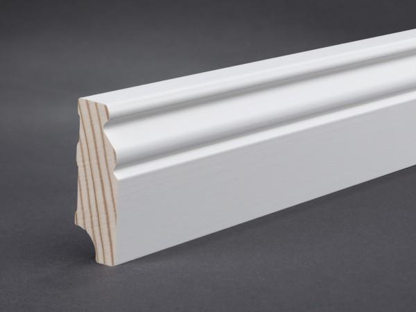Massivholz weiß lackiert 60x19x2400 mm Berliner-/Hamburger Profil