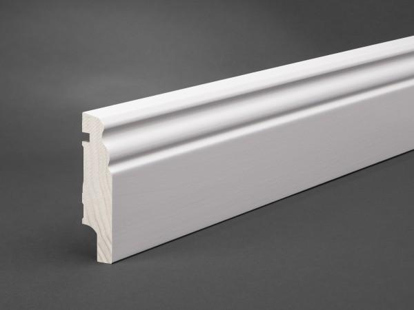 Massivholz weiß lackiert 80x20 mm Berliner-/Hamburger Profil