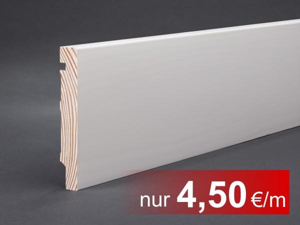 Massivholz weiß lackiert 98x15x2400 mm Oberkante gerade