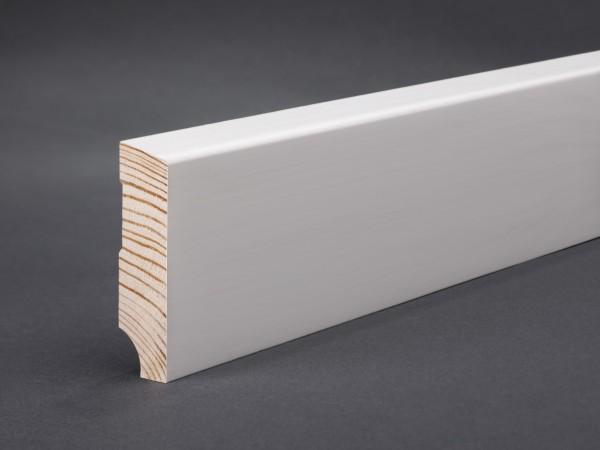 Massivholz weiß lackiert 58x15x2400 mm Oberkante abgeschrägt