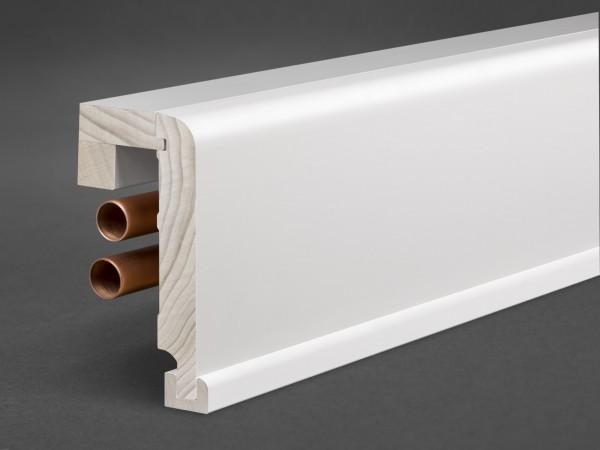 Massivholz weiß lackiert 125x65 mm Rohrabdeckleiste Oberkante abgerundet