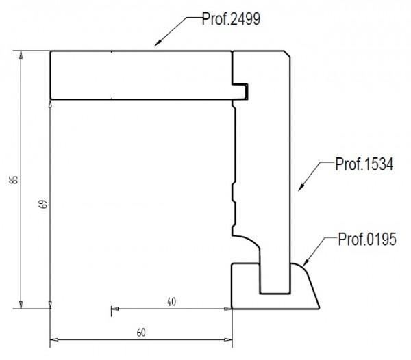 Eiche 85x88 mm Rohrabdeckleiste Oberkante gerade, mit 2x2 mm Fase