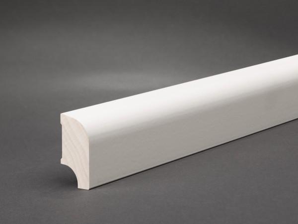 Massivholz weiß lackiert 40x20 mm Oberkante abgerundet