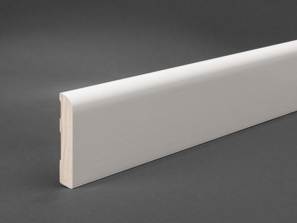 Massivholz weiß lackiert 60x11 mm Oberkante abgerundet