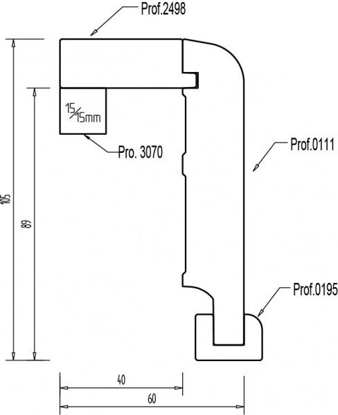 Kiefer 105x65 mm Rohrabdeckleiste Oberkante abgerundet