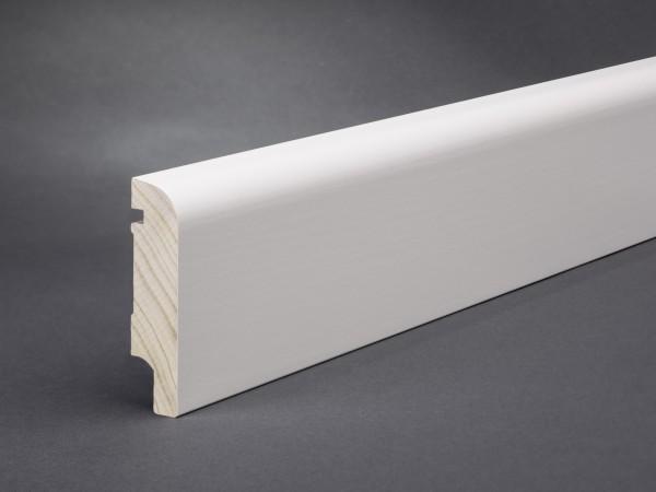 Massivholz weiß lackiert 80x20 mm Oberkante abgerundet