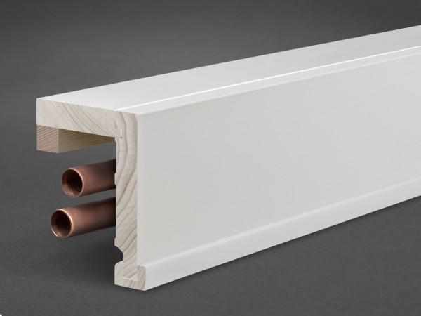 Massivholz weiß lackiert 85x81 mm Rohrabdeckleiste Oberkante gerade