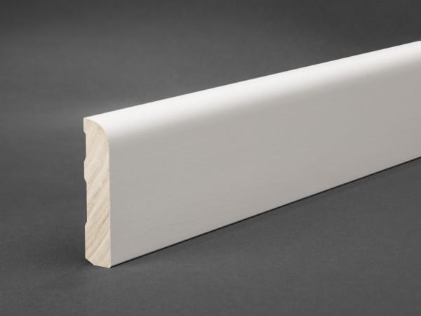 Massivholz weiß lackiert 60x13 mm Oberkante abgerundet