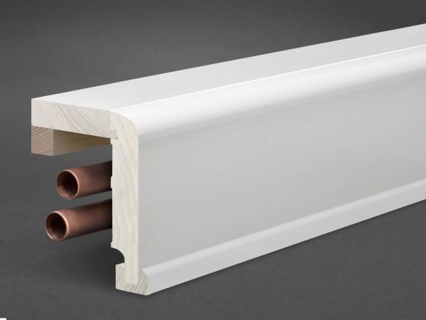 Massivholz weiß lackiert 85x85 mm Rohrabdeckleiste Oberkante abgerundet