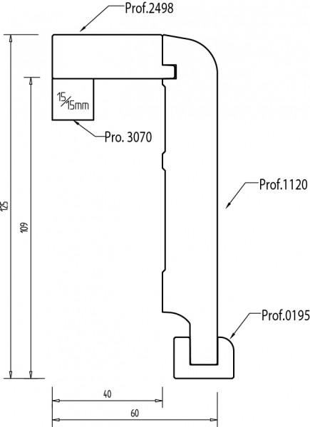 Buche 125x65 mm Rohrabdeckleiste Oberkante abgerundet