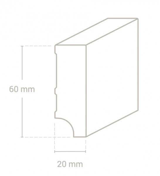Eiche weiß (Optik) 60x20 mm Oberkante gerade-Copy