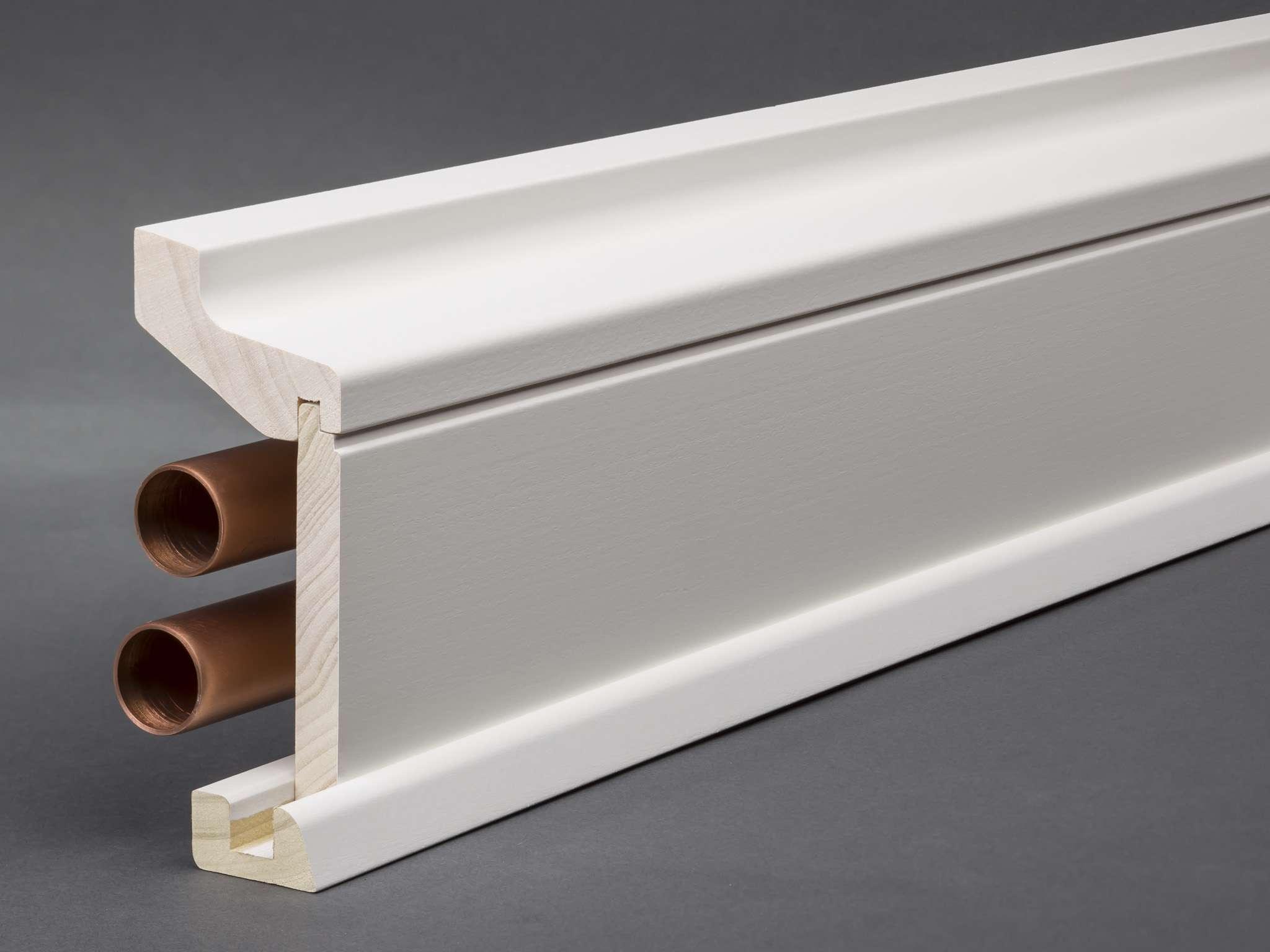 massivholz/mdf weiß lackiert 115x59 mm rohrabdeckleiste oberkante